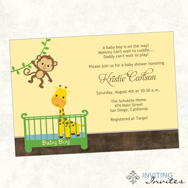 monkey baby shower invitation printable invitation