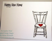 Charmingly Clean and Simple HAPPY New HOME Country Chair Card