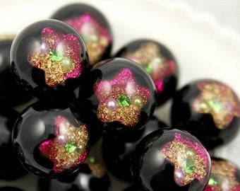 Chunky Beads - 24mm Black Galaxy Star Crystal Ball Resin Beads - 8 pc set