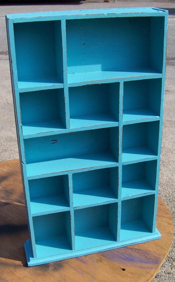 Upcycled Beachy Blue Curio Hanging Wall Shelf