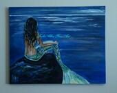 CUSTOM ORDER RESERVED Mermaid Painting Art Mother and Child Mermaid Mermaid Seascape Fantasy Sea Magical Art Leslie Allen Fine Art