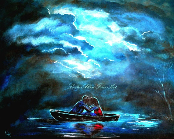 """Couple Love Couple Art Print  Making Up Hugging Embrace Boat Storm Romantic Romance Loving """" Surviving The Storm"""" Leslie Allen Fine Art"""