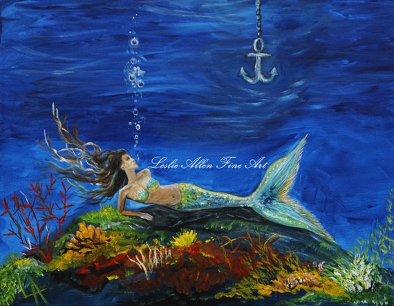 "Mermaid Painting Mermaids Girl Woman Ocean Seascape Fantasy Art Children Room Decor  ""A Pirates True Love Awaits"" Leslie Allen Fine Art"