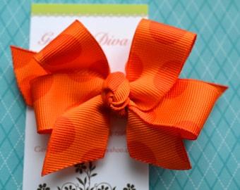 Orange Dots Classic Diva Bow