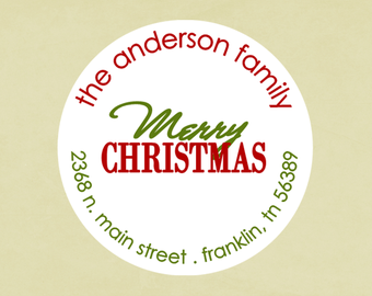 Christmas address labels, stickers, tags, envelope seals, round-- Merry Christmas