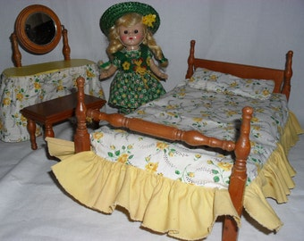 Keystone Bedroom Furniture for Small Dolls - Bed Vanity and Bench with Original Bedding