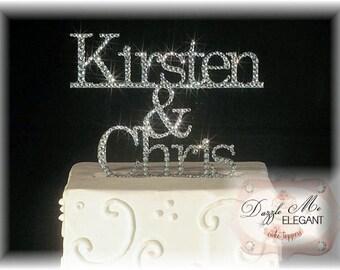 Name Cake Topper - Custom Wedding Cake Topper - Personalized Name Monogram Cake Topper - Crystal Cake Topper - Bride and Groom - Last Name