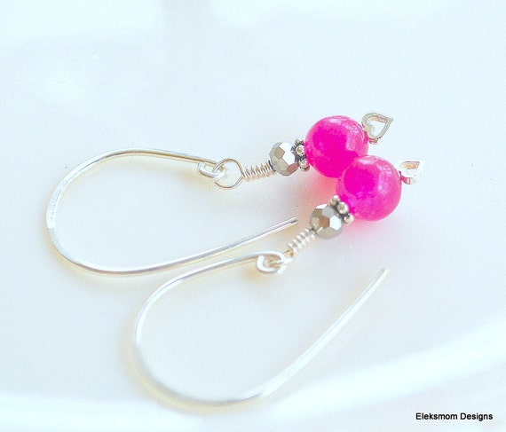 Fuschia candy jade Sterling silver earrings