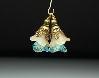 Bead Dangles Vintage Style Light Brown and Aqua Blue Lucite Flowers Pair BR28