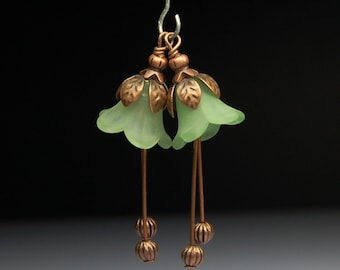 Handmade Wire Wrapped Pair Vintage Style Bead Dangles Drops Charms Olive Green Lucite Flowers Pair G124