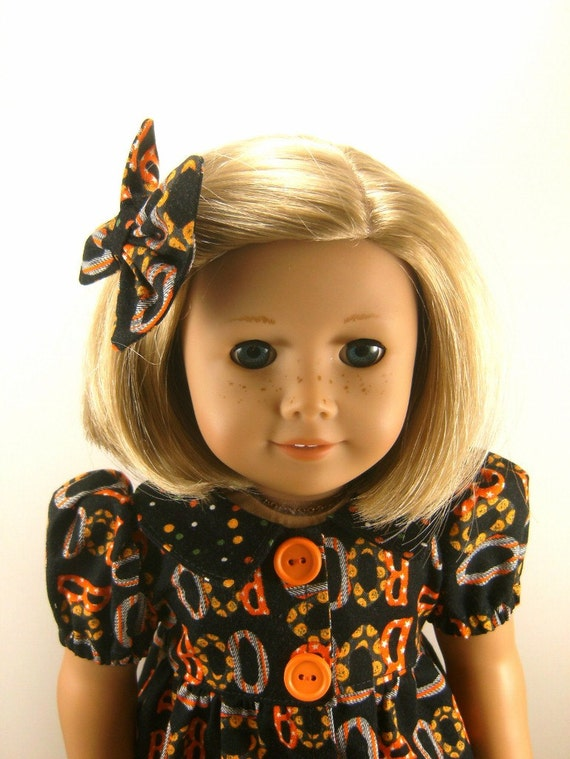 18 Inch Doll Clothes American Girl Halloween Casual Dress, Leggings and Matching Hair Bow girls toy