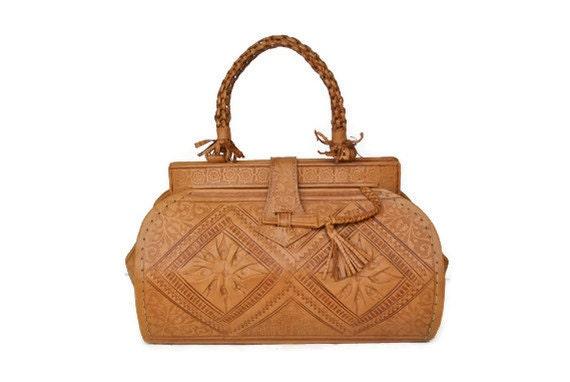 Tooled Leather Purse / Doctor Bag / Moroccan handbag