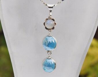 Blue glass drop neckace with flower moonstone