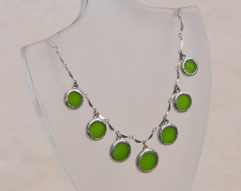 Apple green glass circle chandelier necklace