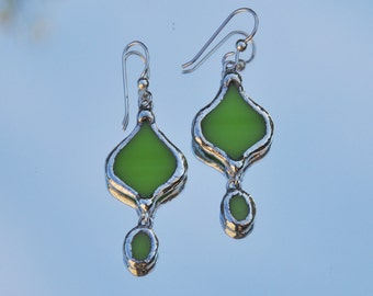 Apple green glass eastern style earrings Holiday Sale!