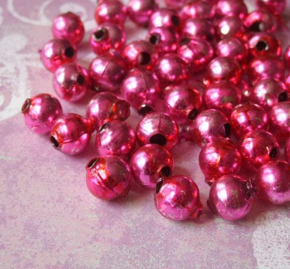 Vintage Hot Pink Red Swirl Mercury Glass Beads 50 pc
