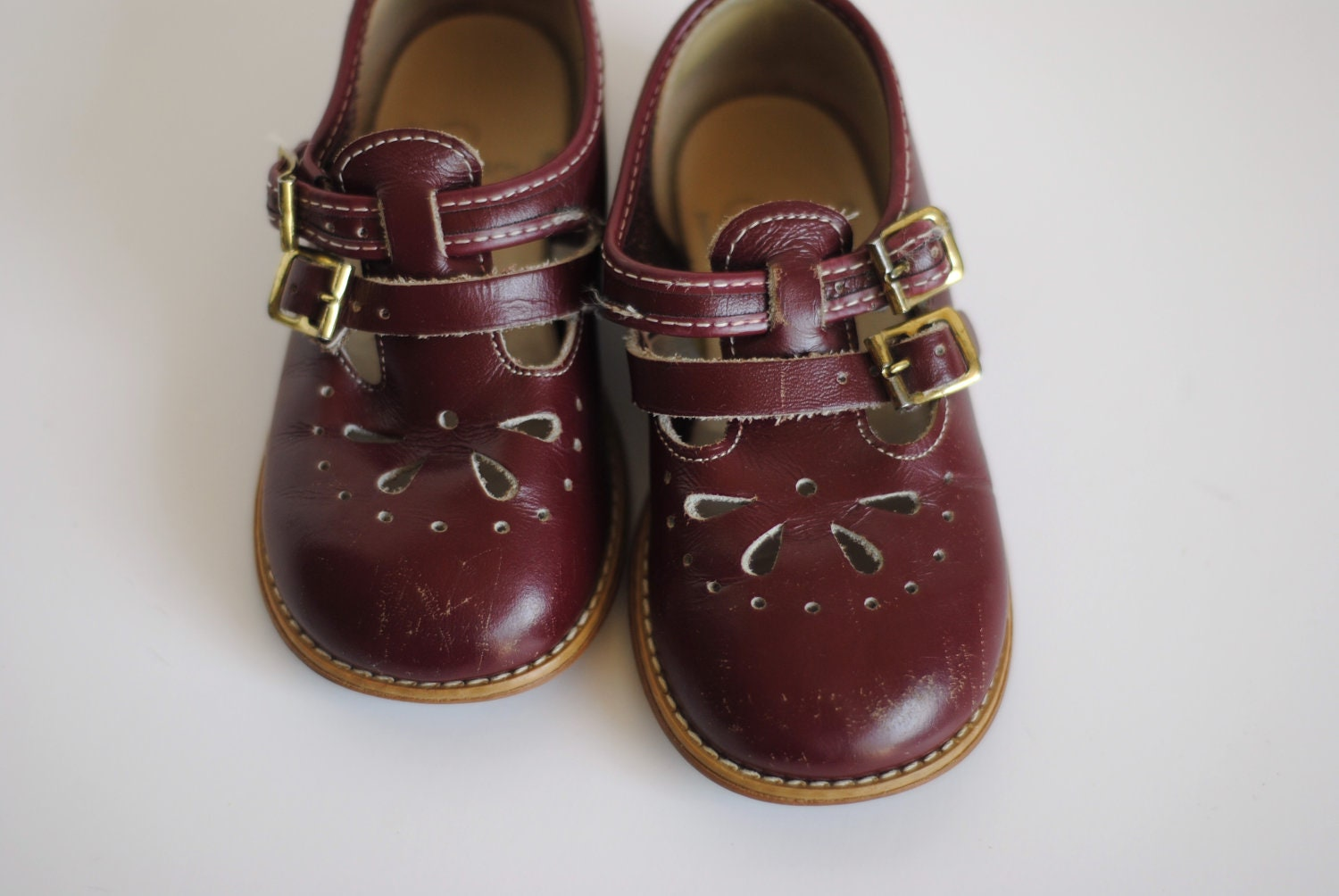 Vintage Toddler Girl T-Strap Shoes Maroon CUT OUTS