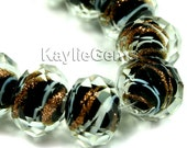 Lampwork Glass Bead 12x9mm, 10x8mm Faceted Abacus Rondelle Gold Sand Swirly Stripe  - Black - BD-LW1002-BLK