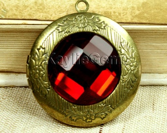Locket Pendant Antique Brass Ruby Glass Antique Victorian Style 1 pc