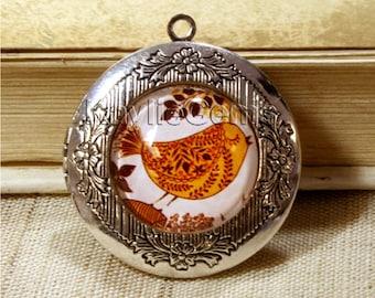 Cute Bird Locket Antique Silver Glass Glass Cabochon Antique Style 1 pc
