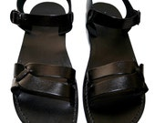 Black Circle Leather Sandals for Men & Women - Handmade Sandals, Leather Flip Flops, Unisex Flat Sandals, Black Leather Sandals