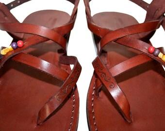 Brown Decor Triple Leather Sandals For Men & Women- Handmade Unisex Sandals, Flip Flop Sandals, Jesus Sandals, Genuine Leather Sandals