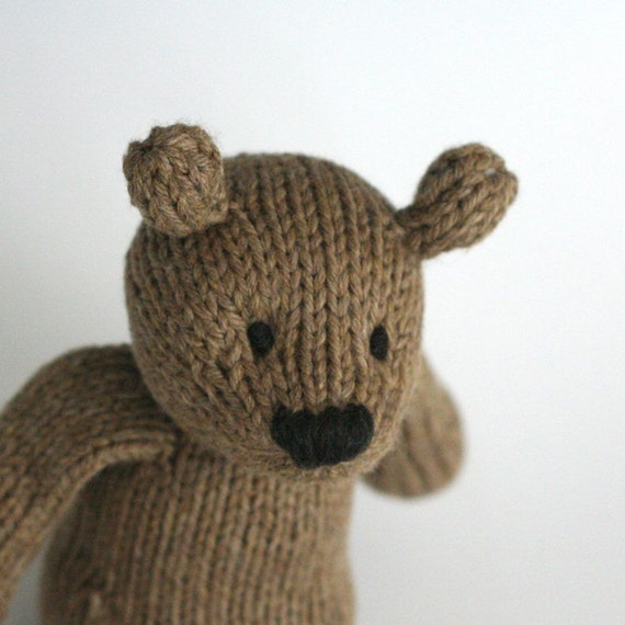 "Rye Bear - Hand Knit Organic Cotton Toy Teddy, 10"" tall"