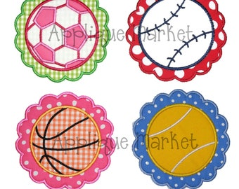 Machine Embroidery Applique Design Sports Ball Scallop Patch Set - Soccer, Baseball, Basketball, Tennis INSTANT DOWNLOAD