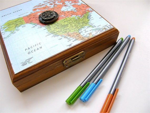 Art Supply Box, Pencil Box, Desk Organizer, Upcycled, Map, SALE, Back to School