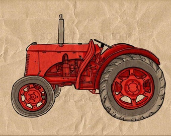 red Tractor vintage -Digital Image Sheet -Original Illustrate Drawing  A4 Print transfer on Pillows, t-shirts, scrapbook, lampshades  ETC.v