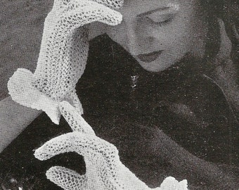 1948 Crisp White Gloves Vintage Crochet Pattern 053