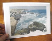 Ocean Notecard - Rocky Shoreline with Waves - Seascape Photography - Blank Greeting