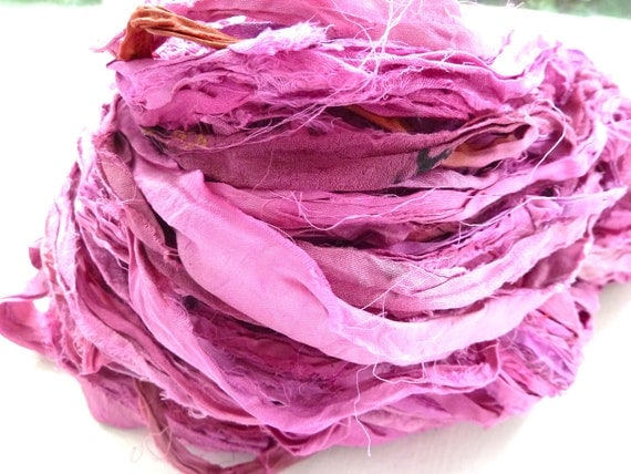 pink flambe recycled silk sari ribbon
