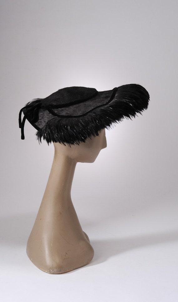 1950's Black Wide Brim Feather Hat - Brushed Fur Felt - New Look