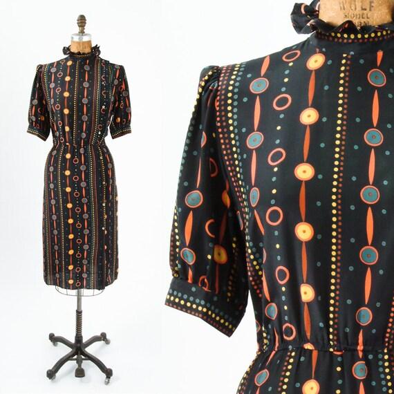 Autumn Silk Dot & Dash Geometric Dress - Made in Paris
