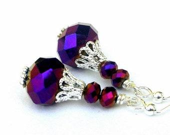 Purple crystal earrings, metallic purple little earrings, festive holiday earrings