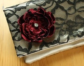 The LENA CLUTCH - Gold and Black Lace Clutch - Wedding Clutch Purse with Black Fabric Flower - Pick Your Wedding Colors
