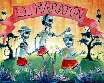 Day of the Dead, 'El Marathon' signed print by artist Heather Calderon