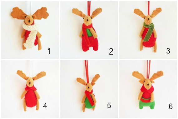Felt Christmas ornament reindeer tree decoration red green -listing for ONE