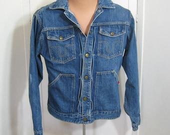 60s Vintage Big Smith Buckaroo Jean Jacket Blue Denim Sanforized Cotton 1960s Trucker Work Wear, Chore Coat, Western Rockabilly, Chest 40 41