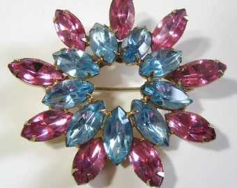 "Vintage 50s Brooch Aqua & Pink Rhinestone, 2"" Double Starburst Wreath Pin, Prong Set Mid Century Turquoise Blue + Rose Marquise Stones"