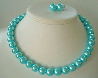 Chunky Aqua Blue Glass Pearl Beaded Necklace Set     Great for Bridesmaid Gifts