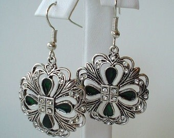 Pretty Antique Pewter Rhinestone Vintage Style Drop Earrings  Great for Bridal Wedding or Prom