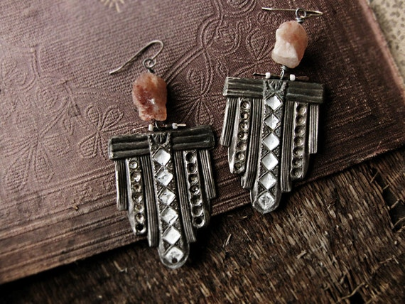 Strato - assemblage earrings - vintage stamping - altered metal - tribal sci fi