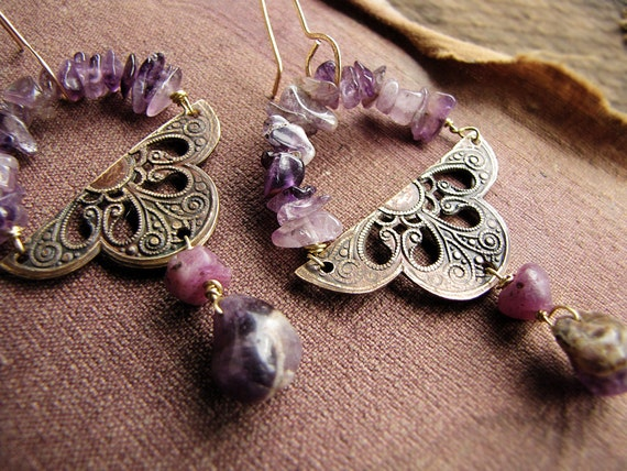 raw garnet and amethyst earrings - art nouveau stampings - artisan made jewelry - Avalon