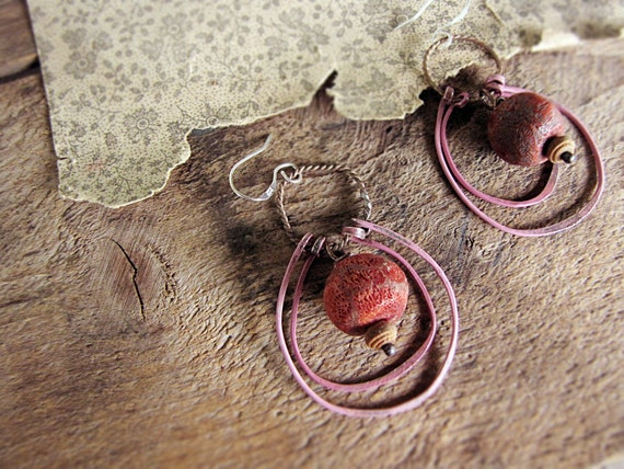 Mars and Venus - rustic artisan earrings - eco friendly pink and red hoops - every day boho style