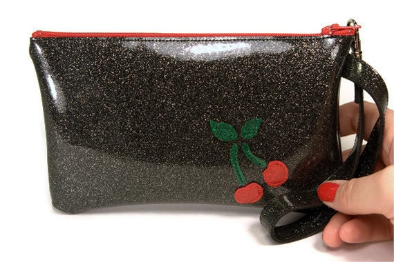Retro Rockabilly Cherry Clutch Wristlet Purse Bridesmaid Clutch Evening Clutch