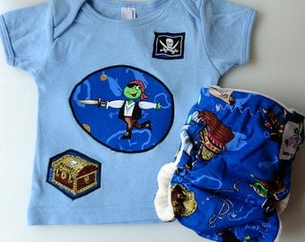 T-Shirt and Diaper Set - Newborn - Pirate Frogs - Free Shipping