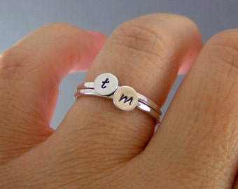 Stack Rings, Custom Initial Rings, Set Of Two Sterling Silver Custom Letter Stack Bands