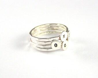 Mothers Rings, Stack Rings, Custom Initial Rings, Personalized Set Of 4 Mothers Stack Initial Rings, Sterling Silver Rings